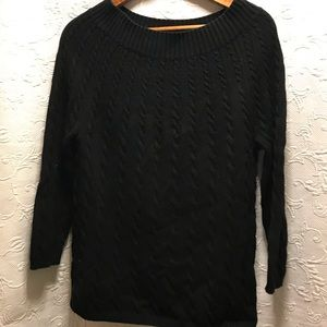 Talbots Black Cable Knit Sweater size M